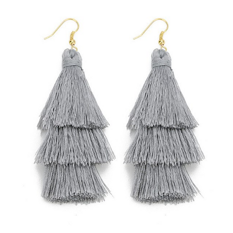 Grey Multi Tassel Drop Earrings