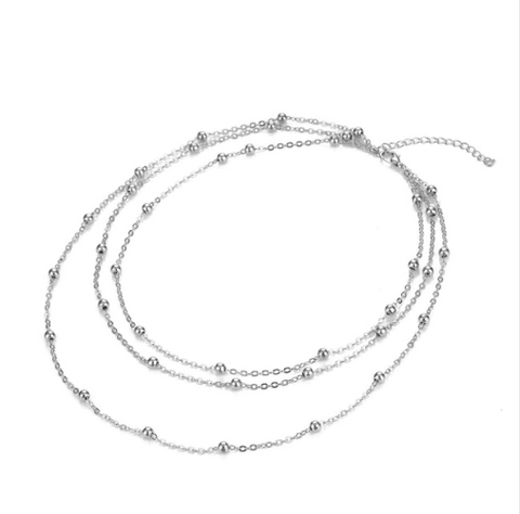 Triple Silver Notch Necklace