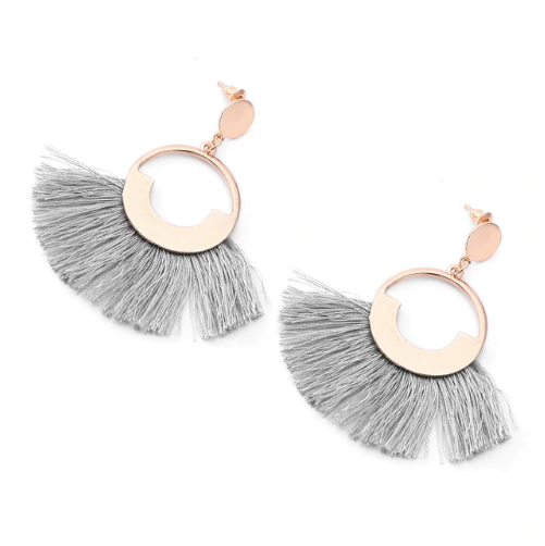 Gold and Grey Circle Fringe Earrings