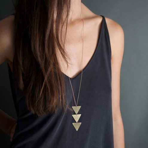 Golden Triple Triangle Necklace