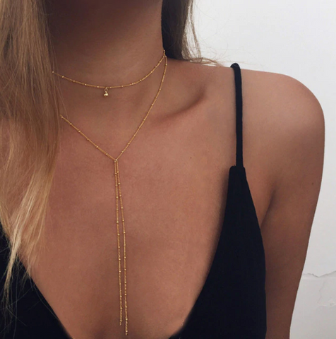 Double Gold Stud Necklace