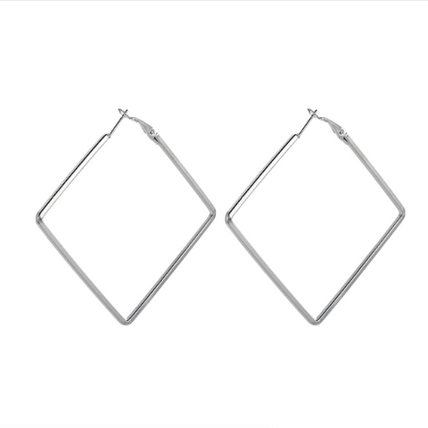 Silver Square Hoop Earrings