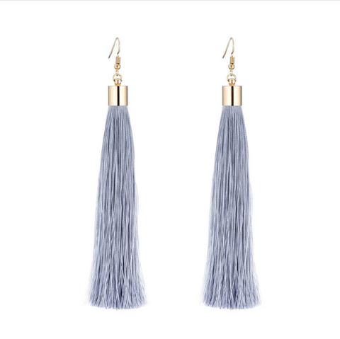 Extra Long Tassel Earrings in Grey