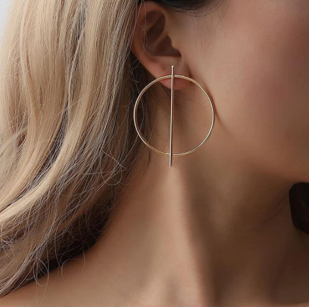 Large Gold Hoop and Bar Earring