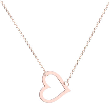 Rose Gold Cut Out Heart Necklace