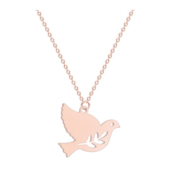 Rose Gold Peace Dove Necklace