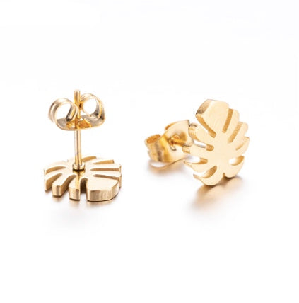 Tiny Gold Monstera Studs