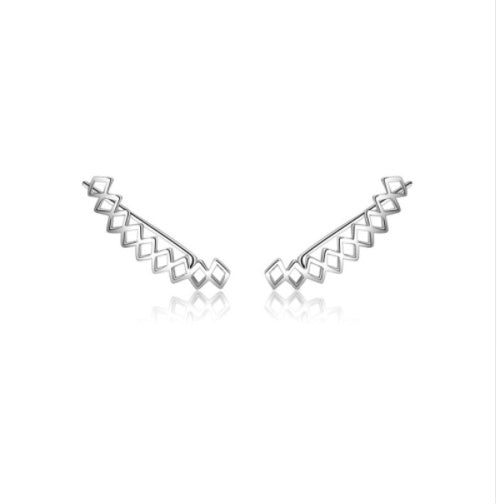 Silver Triangle Climber Earrings