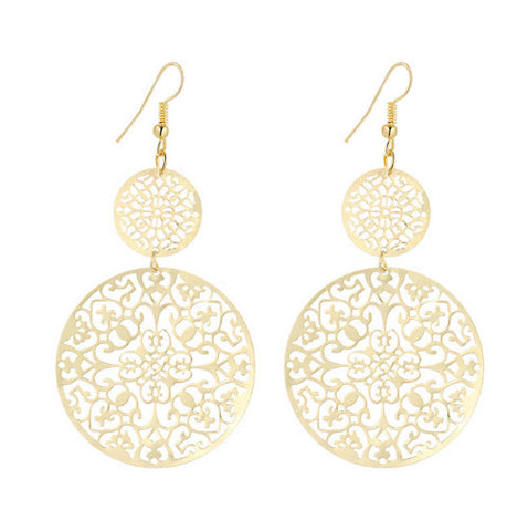 Round Gold Filagree Earrings
