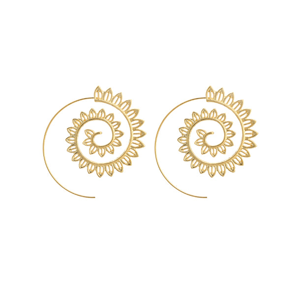 Golden Swirl Leaf Earrings