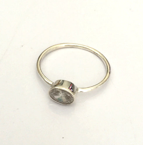 Clear Sterling Silver Stone Ring