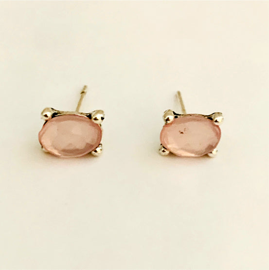 Pink Oval Studs