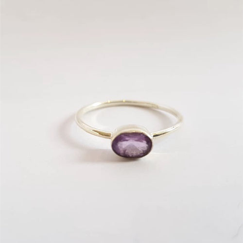 Purple Sterling Silver Stone Ring