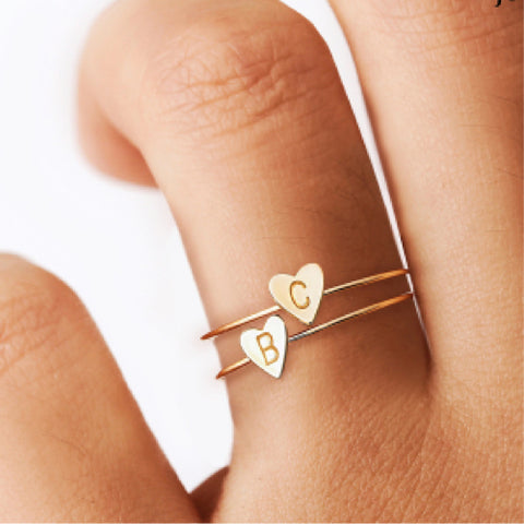 Gold Letter Heart Ring