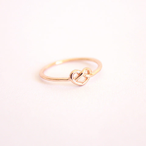 Rose Gold Infinity Heart Knot Ring