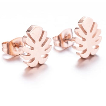 Tiny Rose Gold Monstera Studs