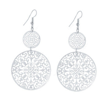 Round Silver Filagree Earrings