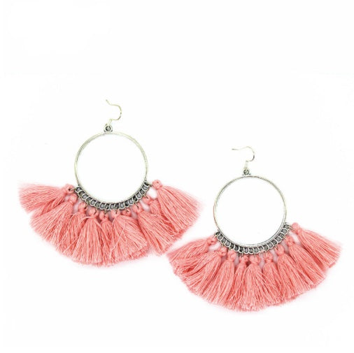 Pink Tassel Silver Hoop Earrings