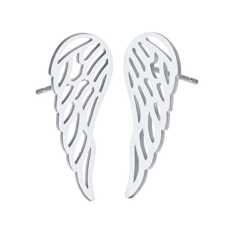 Silver Angel Wing Stud Earrings
