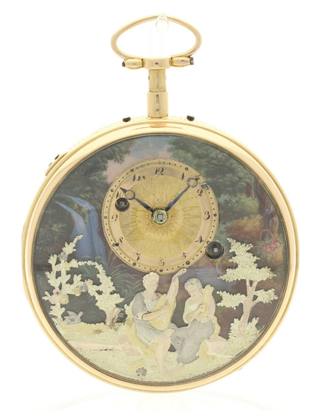 Erotic Automation Pocketwatch: Multi-coloured gold and enamel quarter repeating automation watch with musical movement and concealed erotic automation by Henri Capt c. 1810