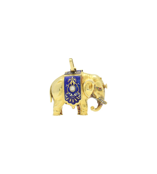 18ct yellow gold and enamel form watch in the shape of an Elephant.
