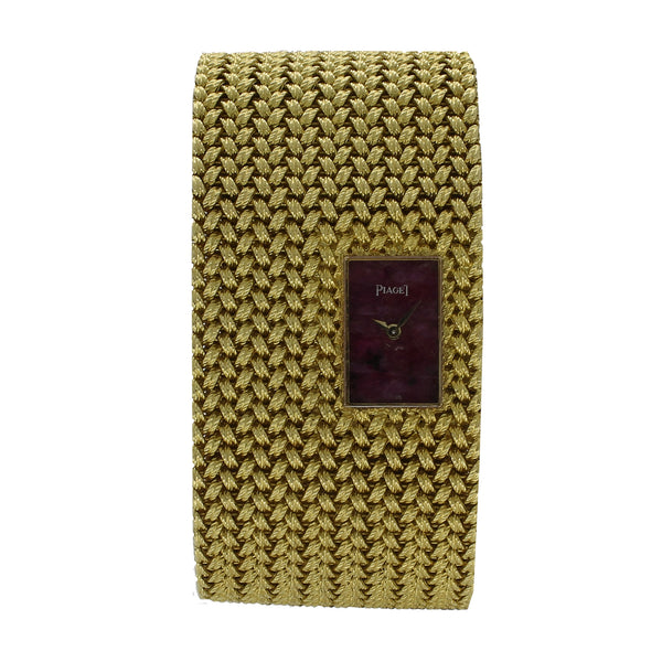 18ct yellow gold woven bracelet watch with ruby dial by Piaget c. 1970