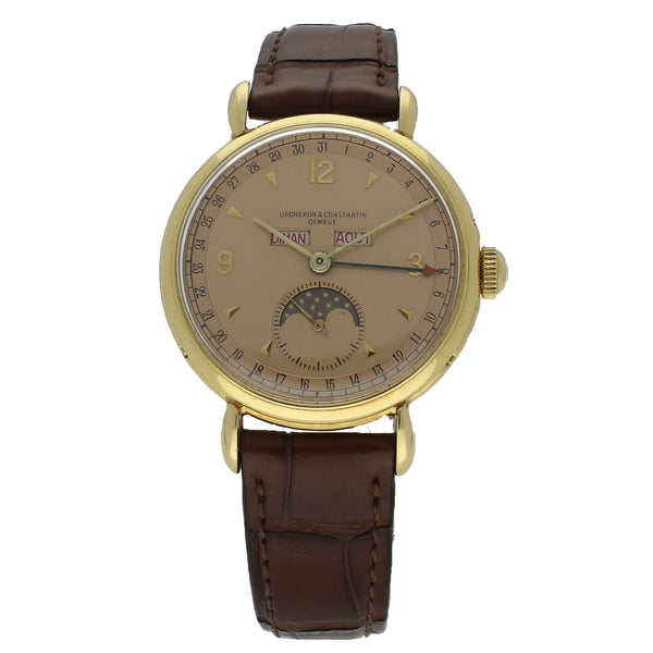 18ct rose gold triple date moonphase wristwatch Ref: 4241 by Vacheron and Constantin  c. 1946
