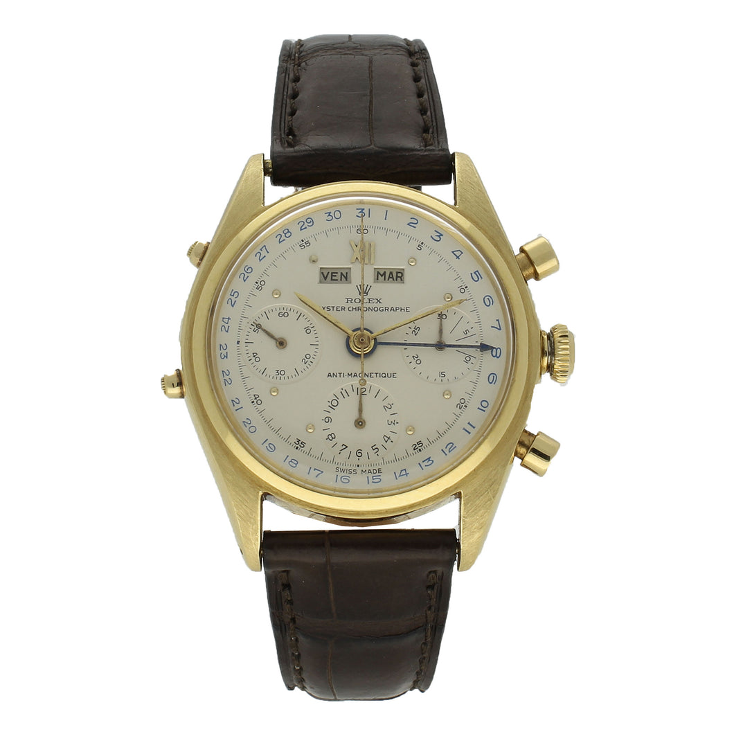 18ct yellow gold, reference 4767 'Jean-Claude Killy' chronograph wristwatch. Circa 1947