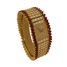 Load image into Gallery viewer, 18ct yellow gold, diamond and ruby set bracelet watch. Circa 1970