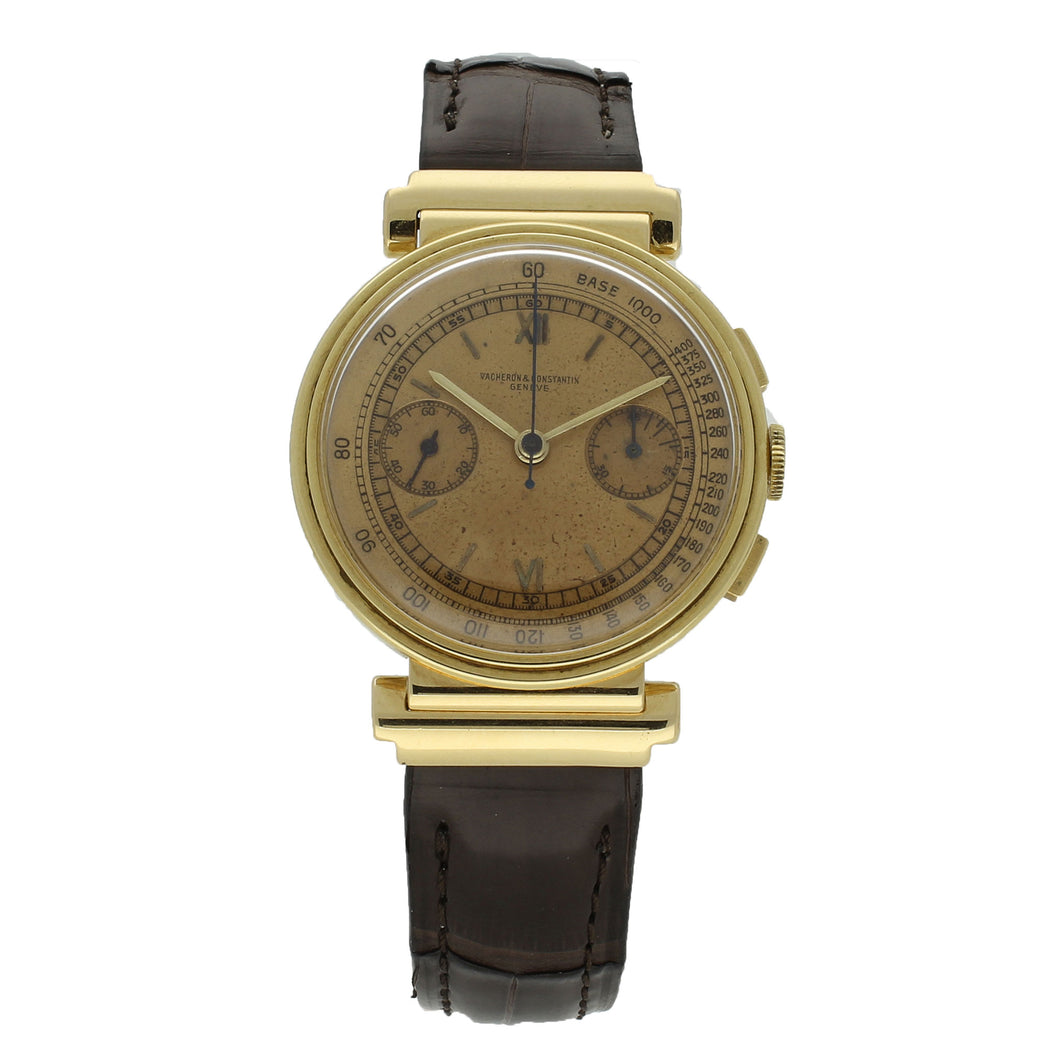 18ct yellow gold chronograph wristwatch. Circa 1938