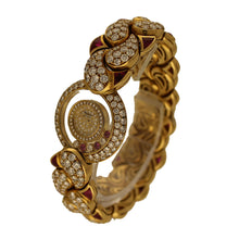 Load image into Gallery viewer, 18ct yellow gold, ruby and diamond set 'Happy Diamonds' bracelet watch. Circa 1980