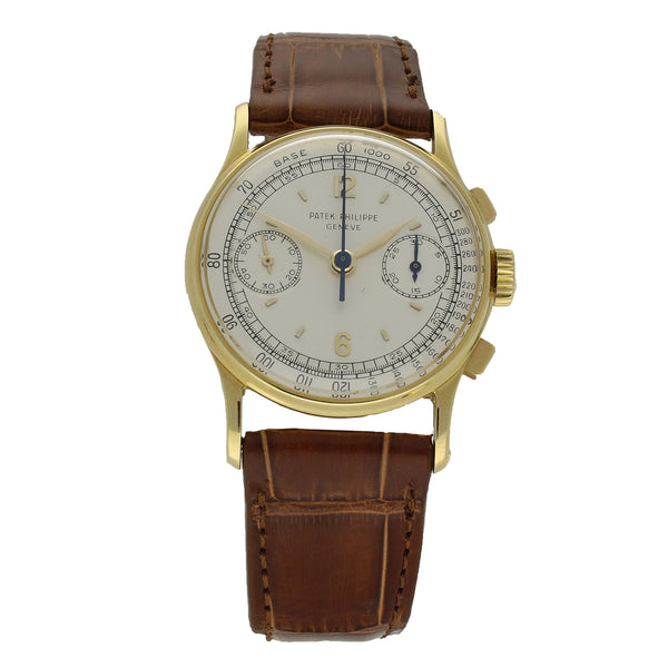 1951 18ct yellow gold chronograph wristwatch Ref: 130 by Patek Philippe