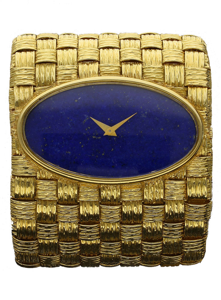 18ct yellow gold cuff watch with lapis dial. Circa 1970