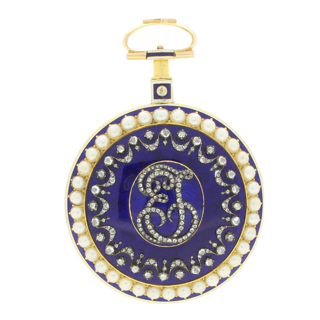 18ct gold, enamel, seed pearl and diamond open face pocket watch with movement signed Jefferys & Jones c. 1780