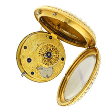 Load image into Gallery viewer, 18ct gold, enamel, seed pearl and diamond open face pocket watch with movement signed Jefferys & Jones c. 1780