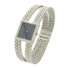 Load image into Gallery viewer, 18ct white gold 'square cased' bracelet watch with slate blue dial. Circa 1970