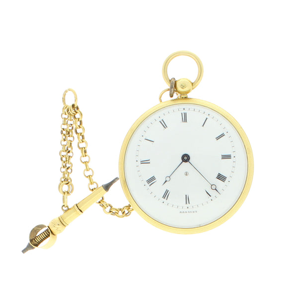 18ct yellow gold miniature pocket watch with chain by Breguet c. 1840