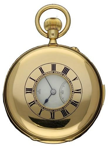 18ct yellow gold half hunter minute repeating free sprung pocket watch. Circa 1907