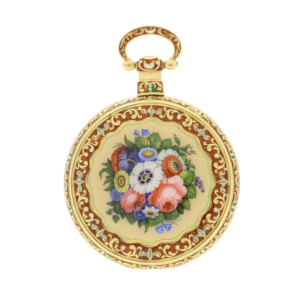 18ct gold and enamel lever escapement watch by Just & Son c. 1820 Made for the Chinese market