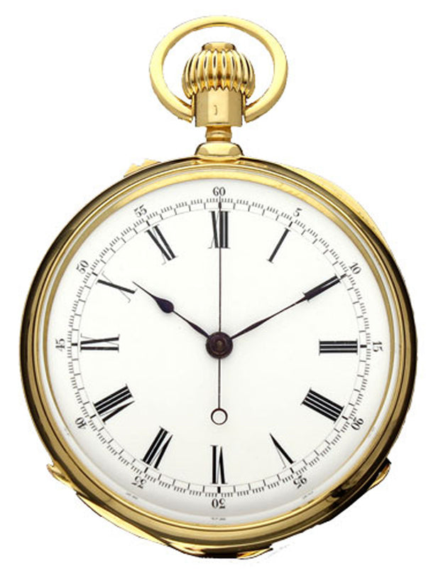 1880 18ct yellow gold open face centre seconds chronograph pocket watch by Patek Philippe