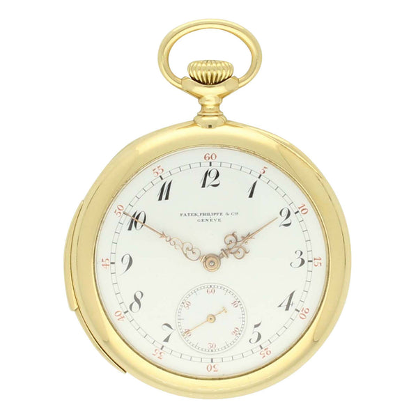 1905 18ct yellow gold open face minute repeater pocket watch by Patek Philippe