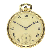 Load image into Gallery viewer, 18ct yellow gold open face dress pocket watch. Made 1920