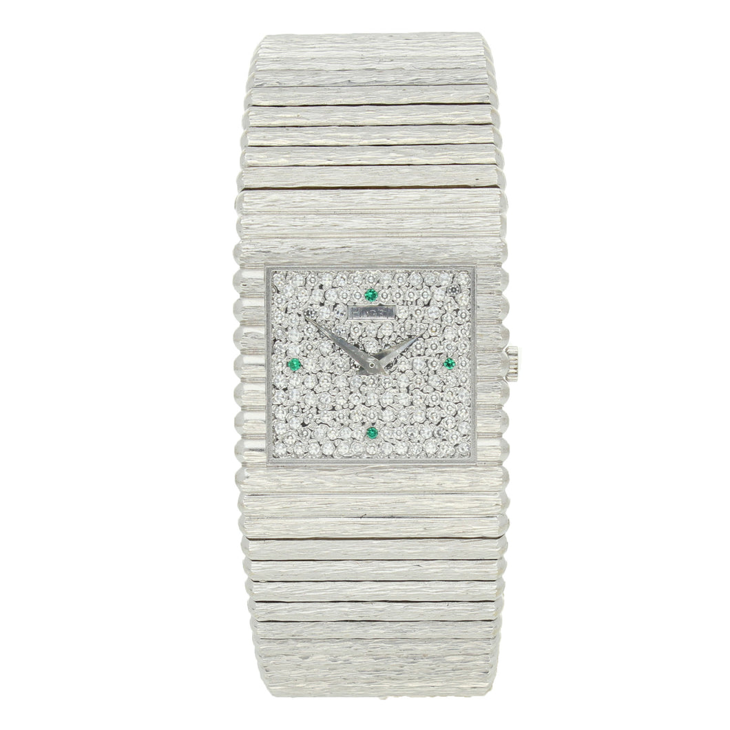 18ct white gold ' square cased', ''Emperador'' bracelet watch with diamond set dial. Circa 1970