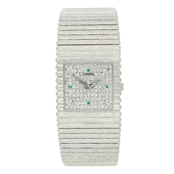 18ct white gold bracelet watch with diamond dial and emerald quarters by Piaget c. 1970