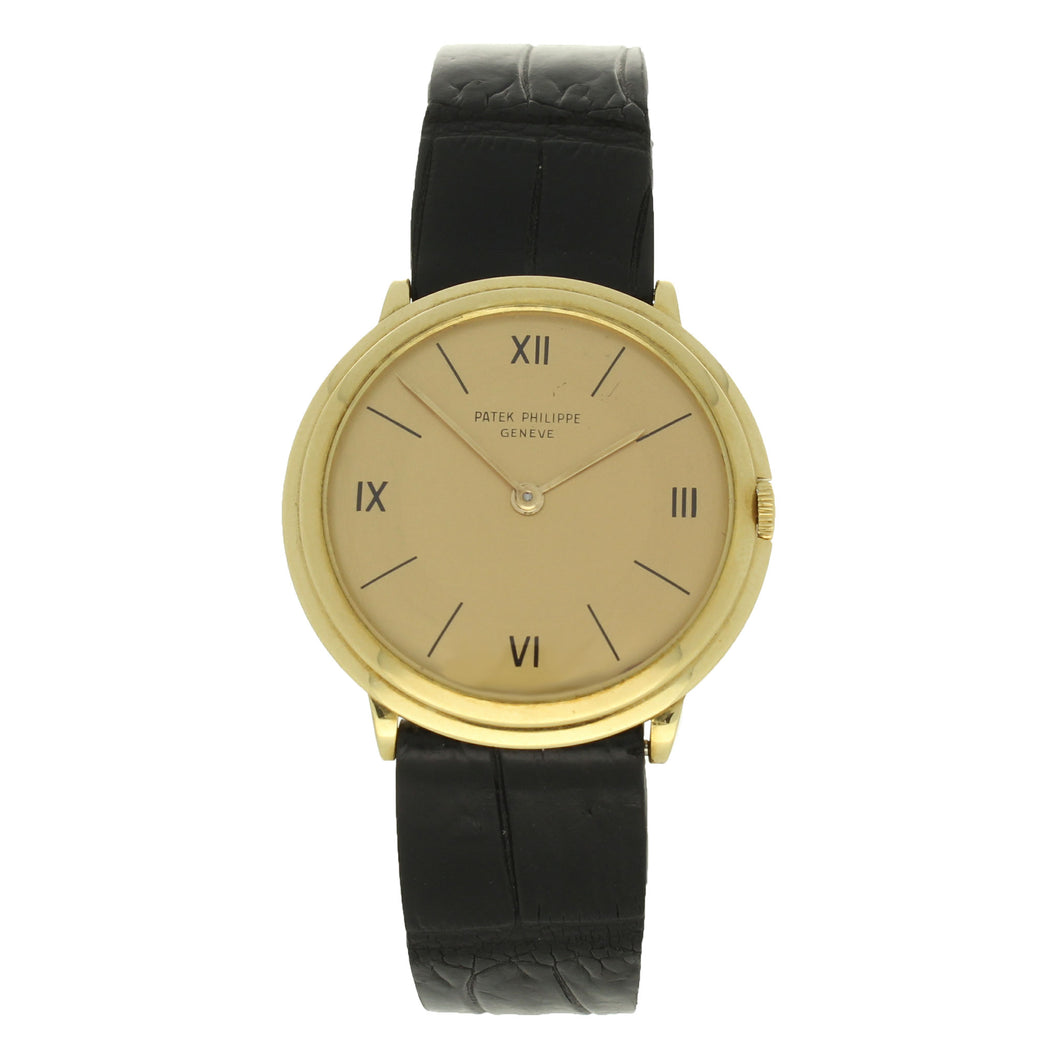 18ct yellow gold, reference 2501 wristwatch. Made 1954