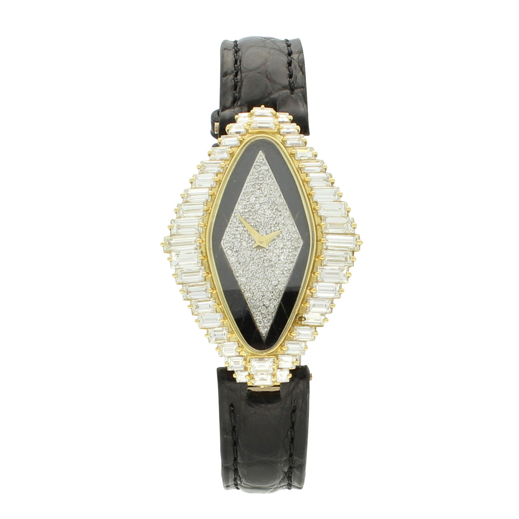 18ct yellow gold and diamond set 'Lozenge' shaped wristwatch. Circa 1977