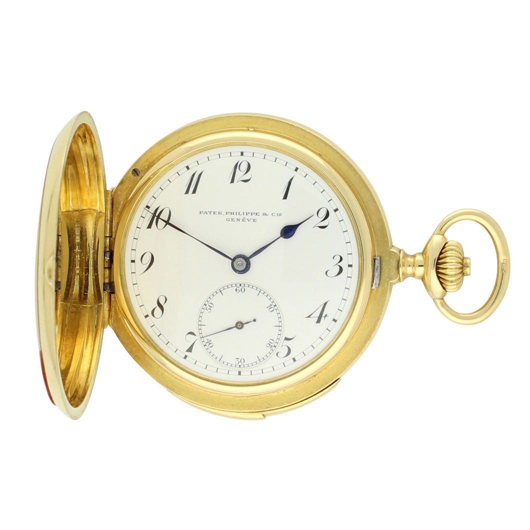 18ct yellow gold hunter case minute repeating pocket watch. Made 1892