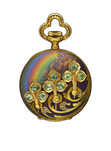 18ct yellow gold, diamond, peridot and rainbow enamel fob watch by Girard Perregaux c. 1890
