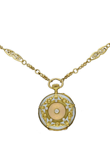 18ct yellow gold, diamond and enamel set fob watch with matching chain. Made 1907