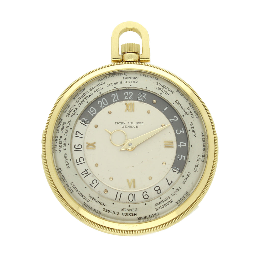 18ct yellow gold, reference 605HU 'World Time' pocket watch. Made 1946
